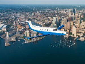 Pilatus aircraft over Boston Harbor
