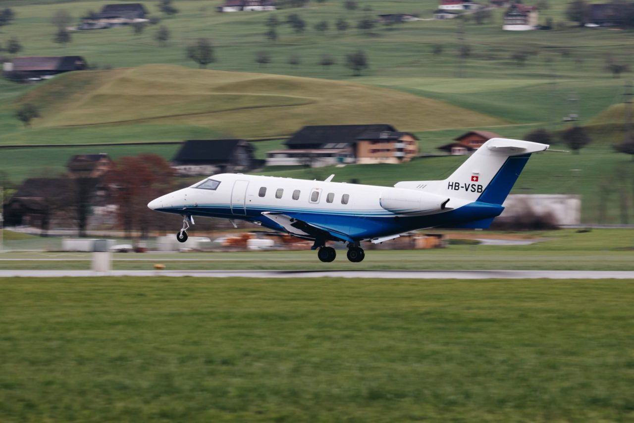 PlaneSense PC-24 taking off from Stans, Switzerland.