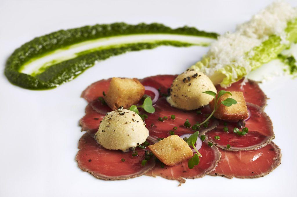 Lamb Carpaccio with Caesar Salad Ice