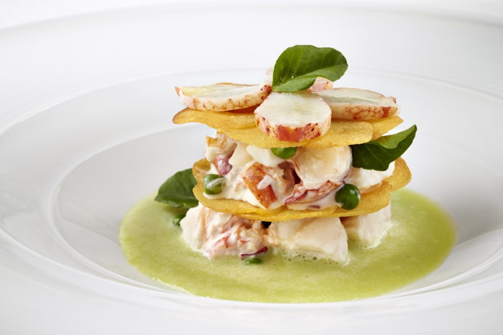 Lobster Napoleon with Minted Pea Soup