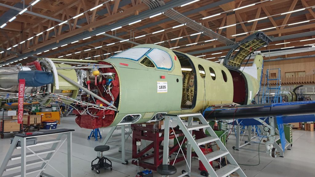 PlaneSense PC-12 on the production line in Switzerland.