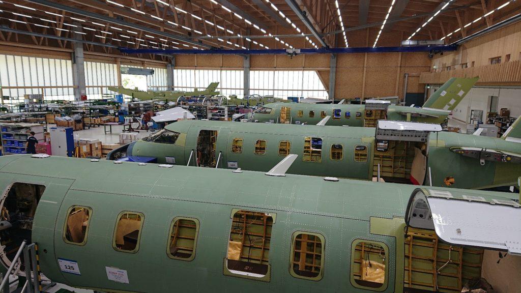 PlaneSense PC-24 jets on production line.