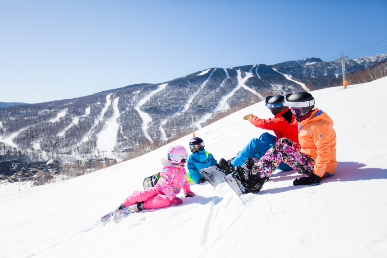 Family skiing at Stowe Mountain Resort