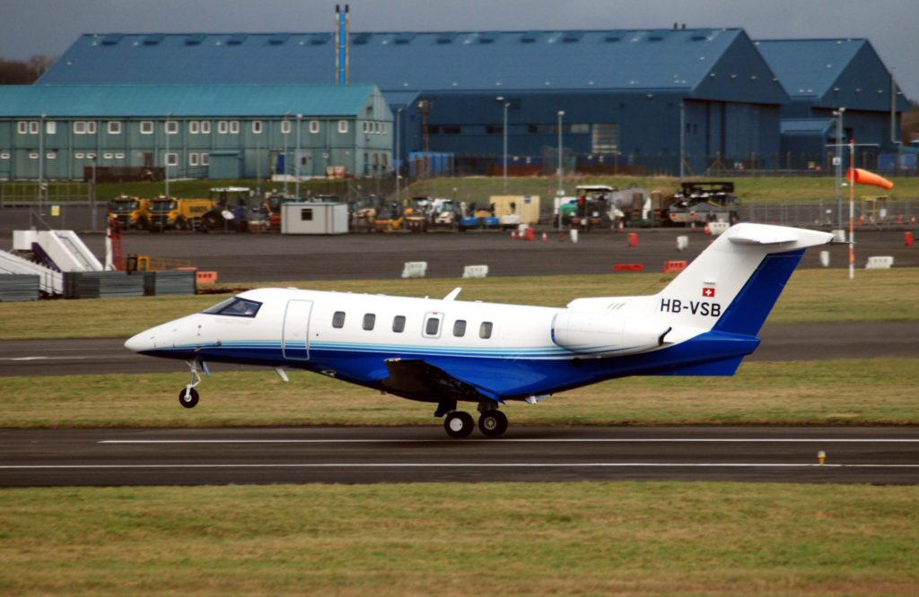 PlaneSense PC-24 taking off from Prestwick, Scotland.