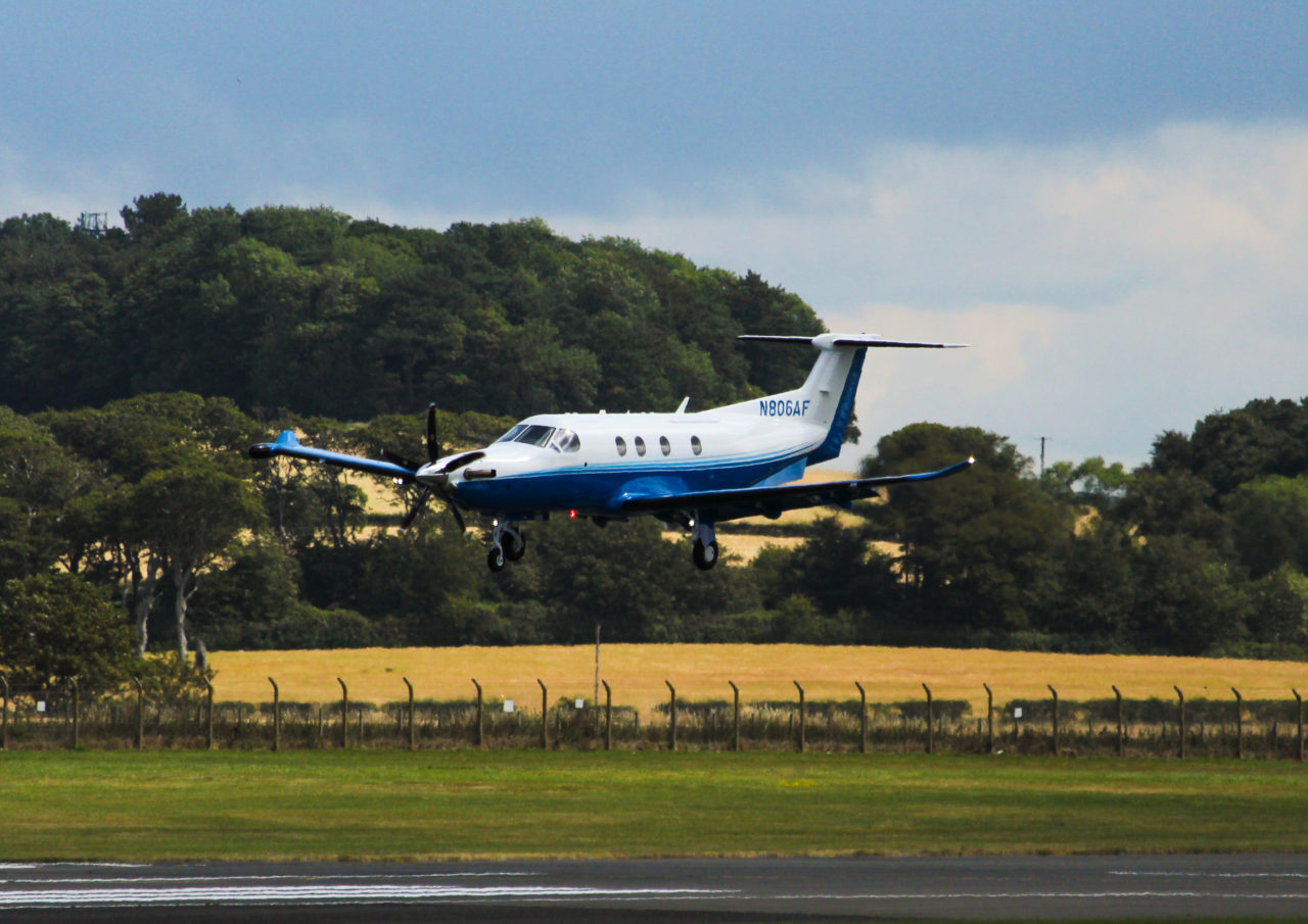 PlaneSense PC-12 flying over Scotland.