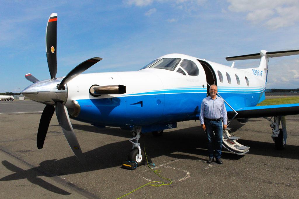Ferry pilot, Hans Lasser with PlaneSense PC-12 in Prestwick, Scotland.