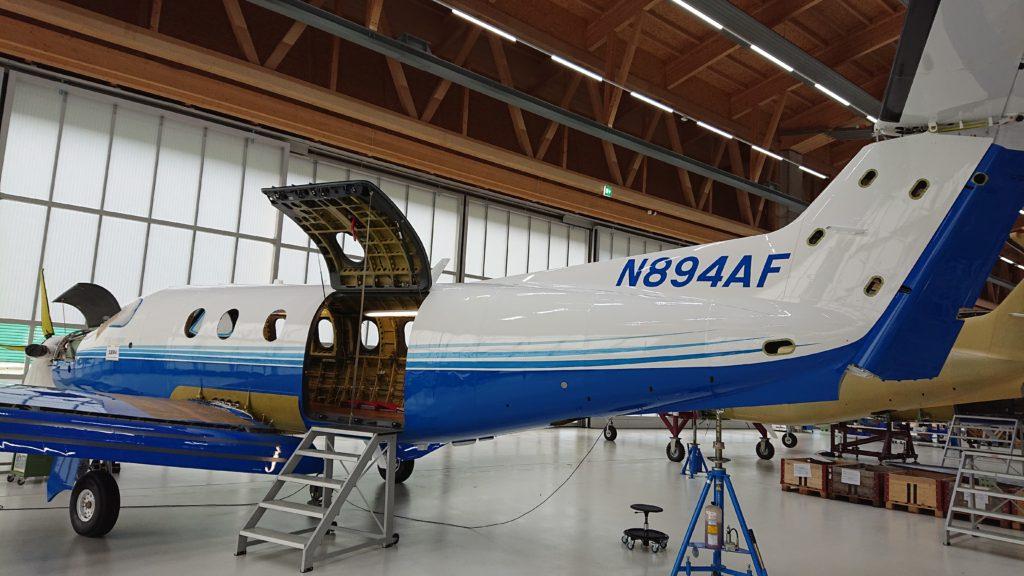 PlaneSense PC-12 in the hanger.
