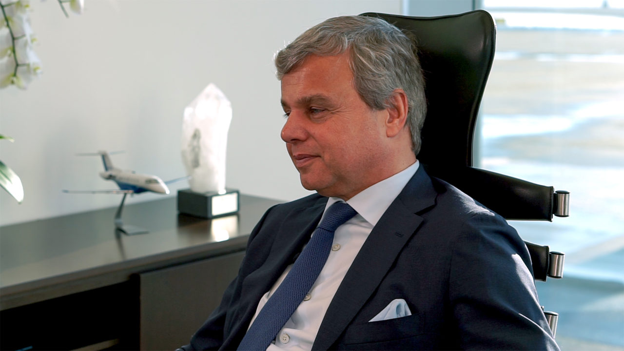 PlaneSense CEO George Antoniadis in his office