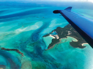 PC-12 wing over Staniel Cay, Bahamas