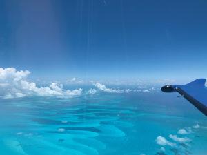 PC-12 Wing over Spanish Cay, Bahamas